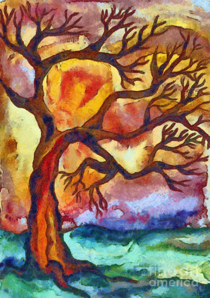Wall Art - Mixed Media - Lone Tree At Sunset by Michal Boubin