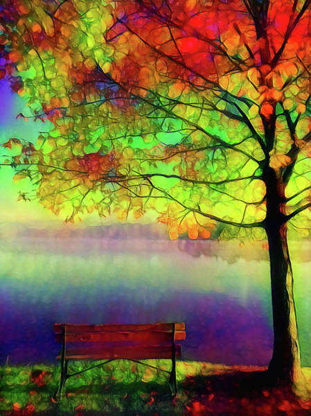 Park Bench Mixed Media - Lonely Autumn Day by Lilia D