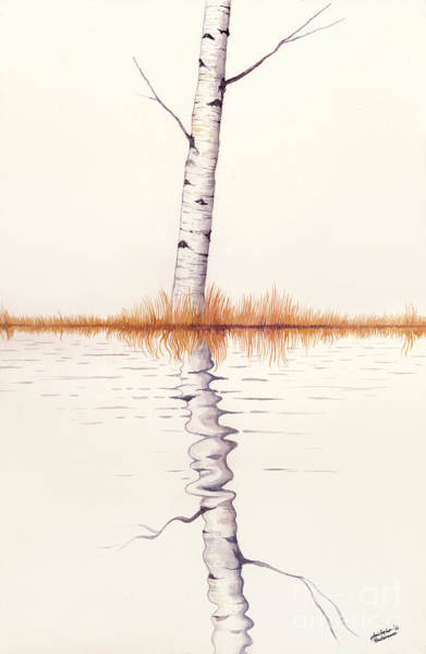 Painting - Lonely Birch Tree by Christopher Shellhammer
