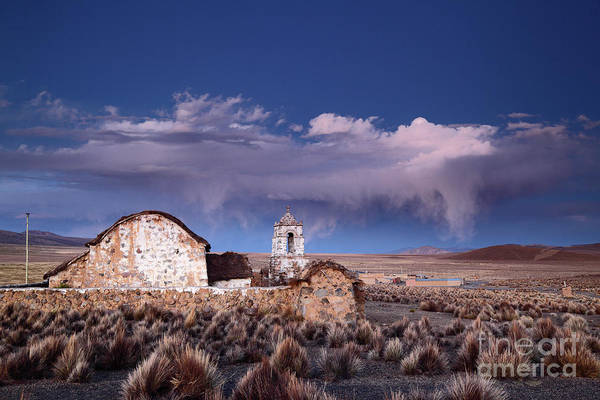 Photograph - Lonely Church And Stormy Altiplano Skies Bolivia by James Brunker