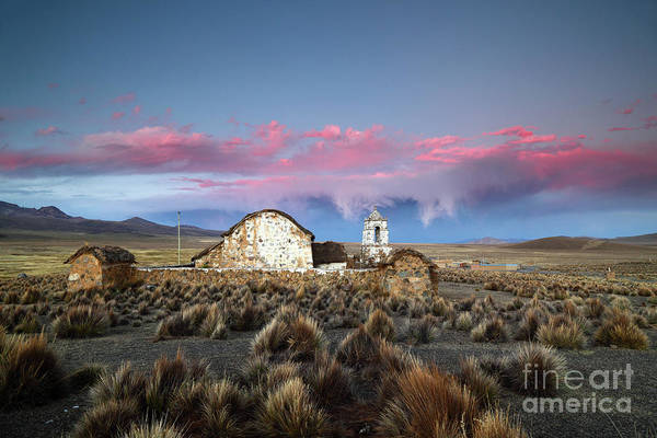 Photograph - Lonely Church And Stormy Altiplano Sunset Bolivia by James Brunker