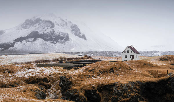 Icelandic Landscapes Wall Art - Photograph - Lonely House In Winter Iceland by Michalakis Ppalis