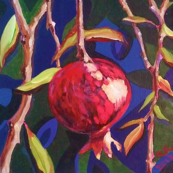 Painting - Lonely Pomegranate by Ray Khalife