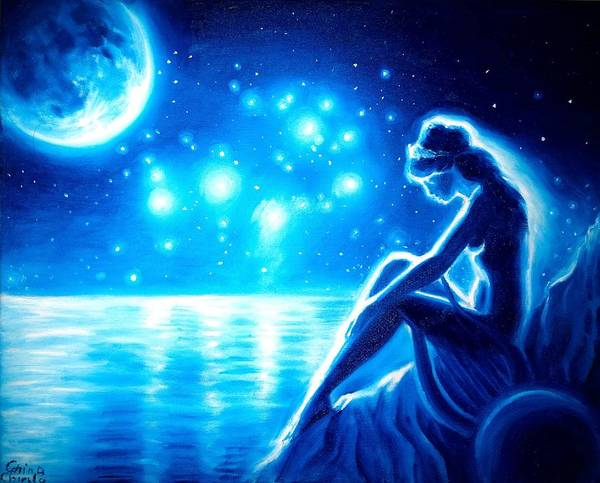 Pleiades Painting - lonely Sappho in the night by Chirila Corina