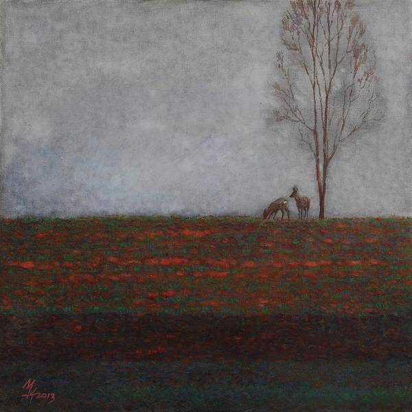Lonely Tree With Two Roes Art Print