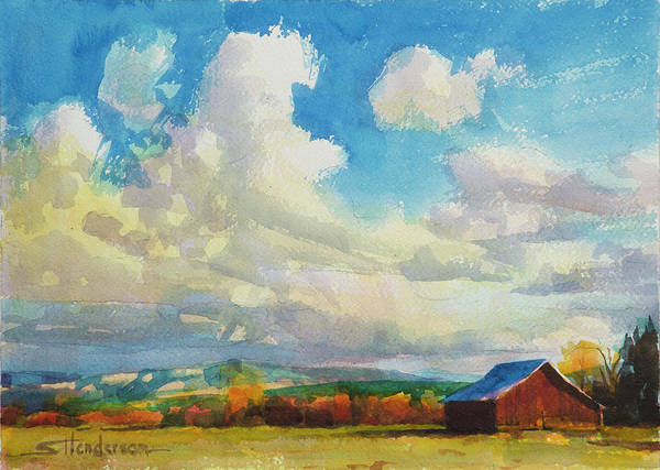 Grass Painting - Lonesome Barn by Steve Henderson