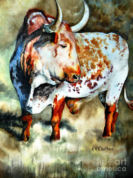 Wall Art - Painting - Lonesome Longhorn by Karen Kennedy Chatham