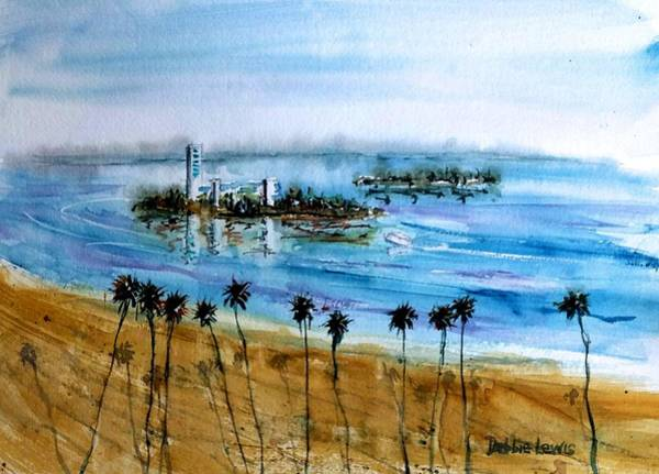 Painting - Long Beach Oil Islands Before Sunset by Debbie Lewis