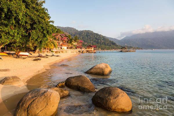 Photograph - Long Chairs On A Beach In Pulau Tioman, Malaysia by Didier Marti