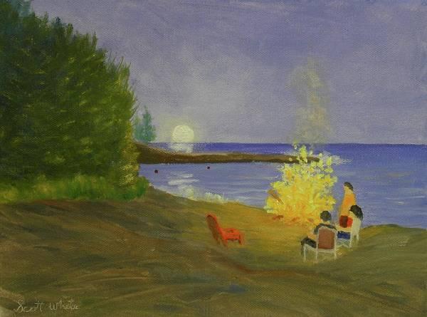 Painting - Long Cove Bonfire by Scott W White