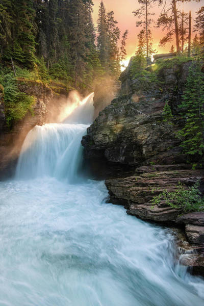 Wall Art - Photograph - Heavenly Mist - St Mary Falls By Thomas Schoeller by T-S Fine Art Landscape Photography