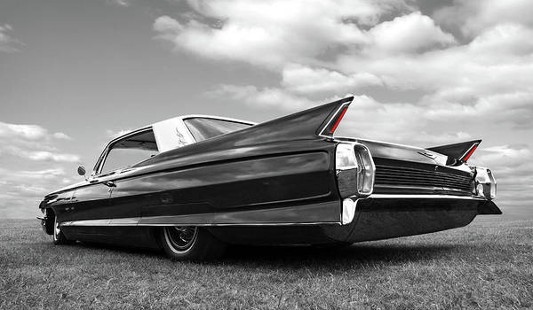 Photograph - Long Lean 1962 Cadillac Black And White by Gill Billington