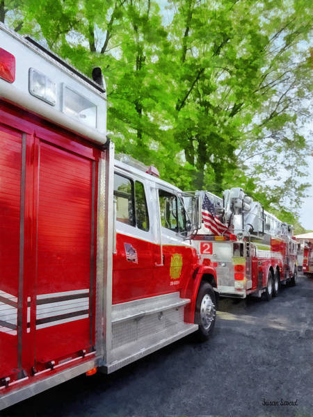 Photograph - Long Line Of Fire Trucks by Susan Savad