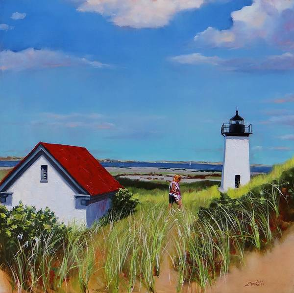 Wall Art - Painting - Long Point Light Two by Laura Lee Zanghetti