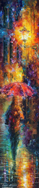 Wall Art - Painting - Long Red Umbrella by Leonid Afremov
