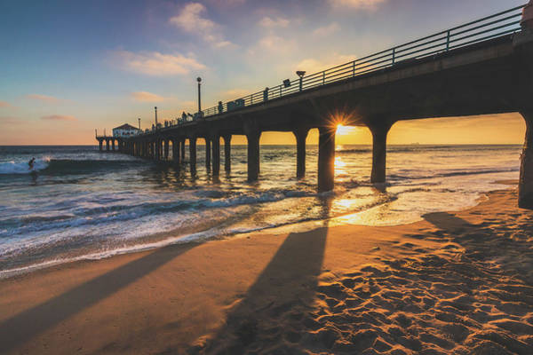 Photograph - Long Shadows At Manhattan Beach Pier Sunset by Andy Konieczny