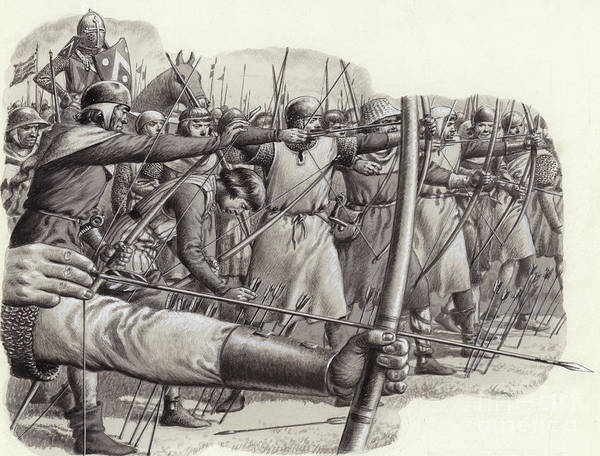 Wall Art - Painting - Longbowmen At The Battle Of Falkirk by Pat Nicolle