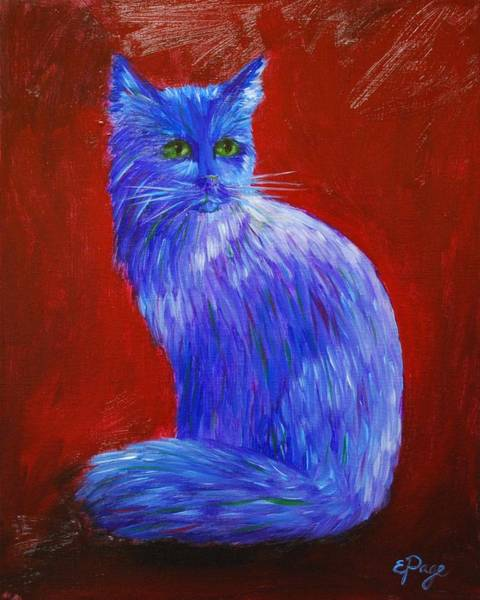 Painting - Longhaired Blue Cat by Emily Page