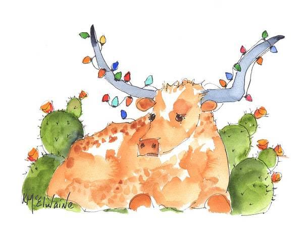 Longhorn Painting - Longhorn Christmas by Kathleen McElwaine