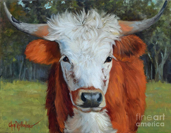 Longhorn Painting - Longhorn Cow Painting II, Ms Tilly  by Cheri Wollenberg