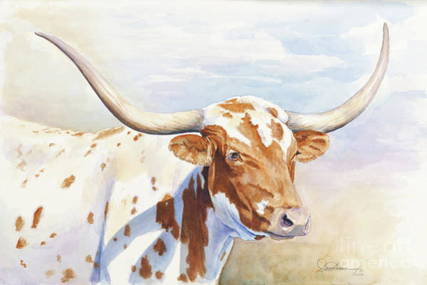 Longhorn Cattle Wall Art - Painting - Longhorn by Don Dane