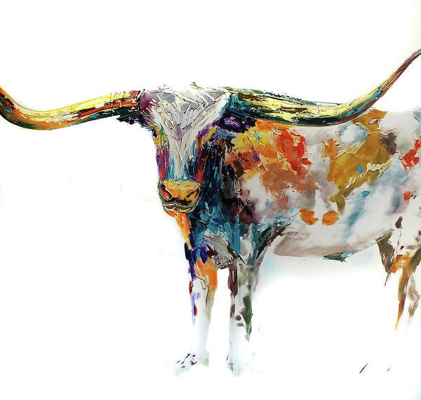 Longhorn Painting - Longhorn Oil Painting At Texas State Fair by Kim Guthrie