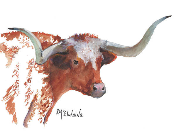 Painting - A Texas Longhorn Portrait by Kathleen McElwaine