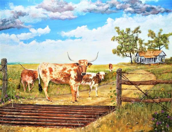 Wall Art - Painting - Longhorn Stand Off Your Place Or Mine by Michael Dillon