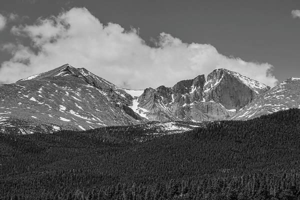 Photograph - Longs Peak Diamond Monochrome by James BO Insogna