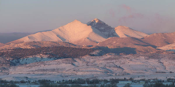 Photograph - Longs Peak Sunrise In Winter by Aaron Spong