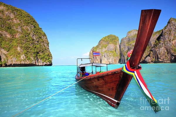 Phi Photograph - Longtail Boat At Maya Bay by MotHaiBaPhoto Prints