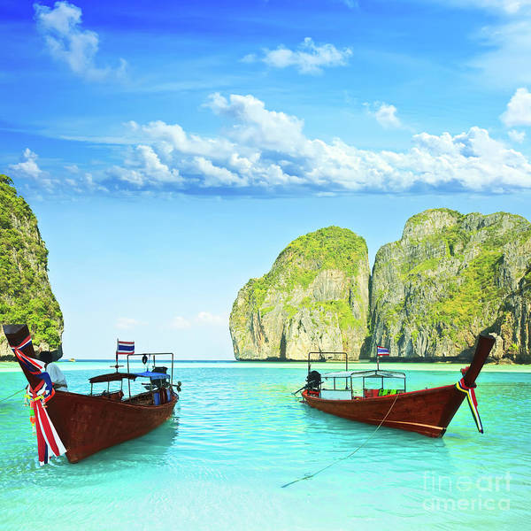 Longtail Boats At Maya Bay Art Print