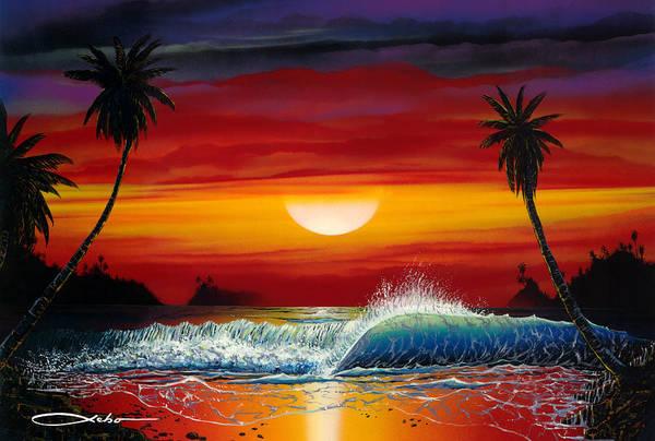 Volcanoe Painting - Long Kiss Goodnight by Chris Sebo
