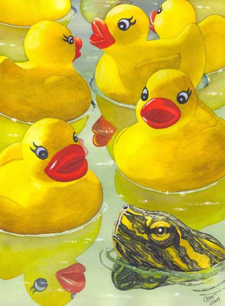 Rubber Duck Wall Art - Painting - Look Its A Turtle Head by Catherine G McElroy