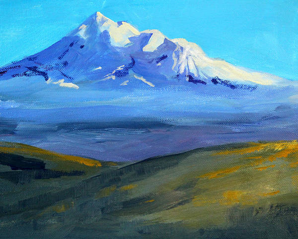 Northern California Wall Art - Painting - Looking At Shasta by Nancy Merkle