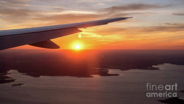 Looking At Sunset From Airplane Window With Lake In The Backgrou Art Print