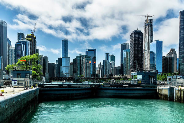 Photograph - Looking Back At The Chicago Skyline From The Locks  by Sven Brogren