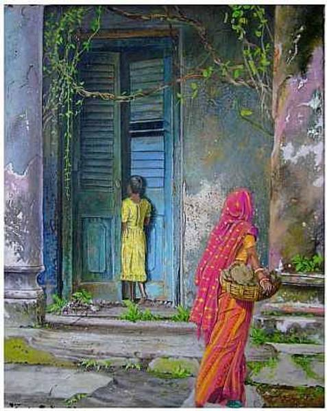 Bangladesh Painting - Looking Back In Time by Malcolm Arnold