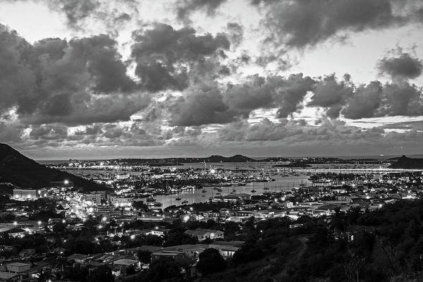 Photograph - Looking Down At Saint Martin During Twilight Black And White by Toby McGuire