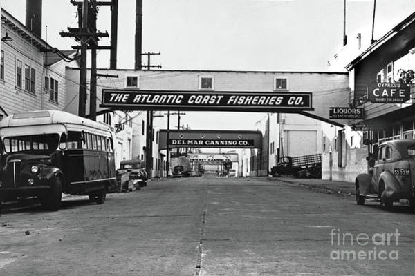 Photograph - Looking Down Cannery Row Circa 1949 by California Views Archives Mr Pat Hathaway Archives