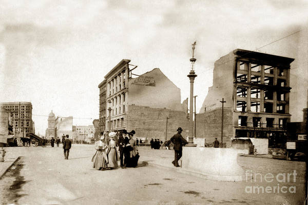 Photograph - Looking Down Market St. At The Site Of Hale Building 6th - Market St. April 1906 by California Views Archives Mr Pat Hathaway Archives