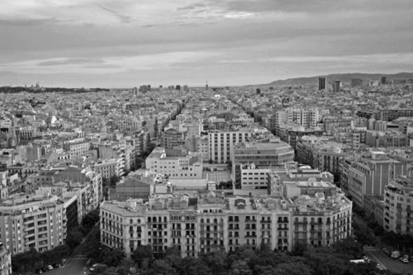 Photograph - Looking Down On Barcelona From The Sagrada Familia Black And White by Toby McGuire