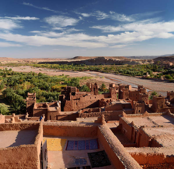 Ait Benhaddou Photograph - Looking Down On The Ounila River Valley From The Top Of Ait Benh by Reimar Gaertner