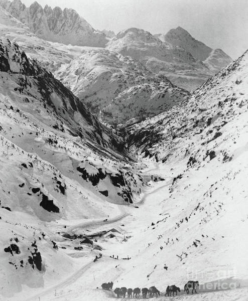 Wall Art - Photograph - Looking Down Through Cutoff Canyon From Half Mile Below White Pass Summit, During The Klondike Gold  by American School