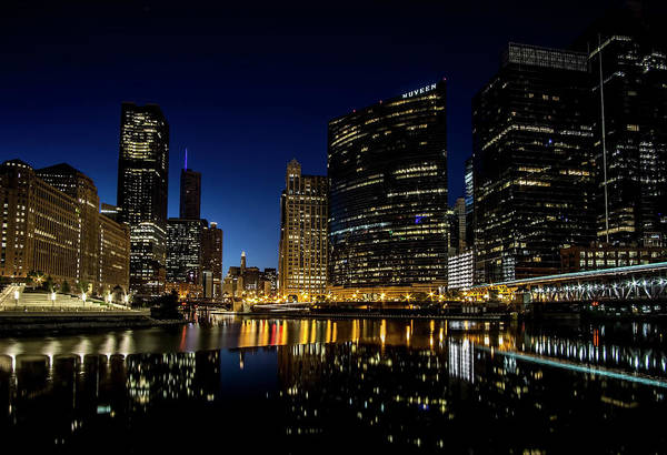 Photograph - Looking East Down The Chicago River At Blue Hour  by Sven Brogren