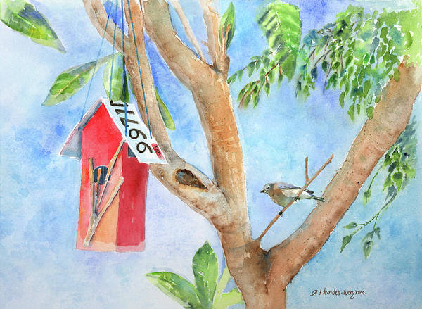 Birdhouse Painting - Looking For A Home by Arline Wagner