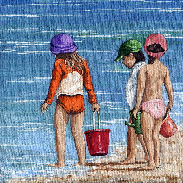 Wall Art - Painting - Looking For Seashells Children On The Beach Figurative Original Painting by Linda Apple
