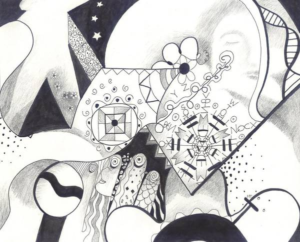 Drawing - Looking For The Universe In A Grain Of Sand by Helena Tiainen