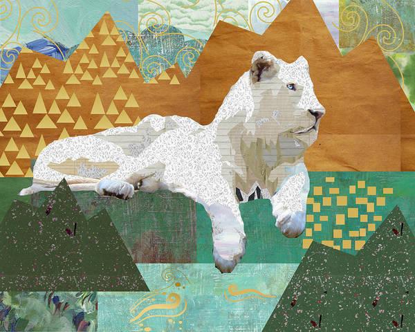 Looking Forward - Snow Lion Art Print
