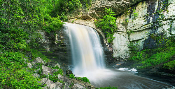 Photograph - Looking Glass Waterfalls In North Carolina Panorama by Ranjay Mitra